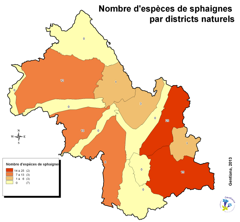 Nbre d'espèces de sphaignes par district naturel